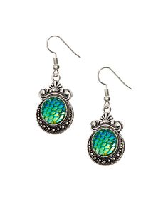 Take a look at this Blue & Silvertone Mermaid Drop Earrings today!