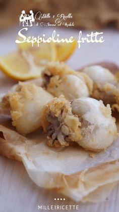 Seppioline fritte un pranzo veloce servito. Mio marito non è uno che mangia molto pesci però le seppie e polpi non rinuncia mai. Chi sa perché Frittata, Carne, Cereal, Garlic, Calamari, Vegetables, Kitchen Tips, Eat, Breakfast