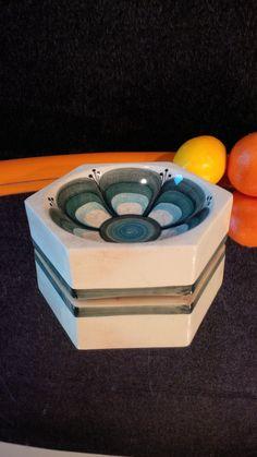 Vintage Hexagon Bowl by Jersey Pottery White Backdrop, Vintage Designs, Backdrops, Pottery, Etsy, Inspiration, Ceramics, Biblical Inspiration, Pottery Pots
