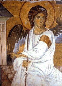 Archangel Gabriel Outside Jesus' Tomb after Resurrection - Angels in art - Wikipedia, the free encyclopedia Religious Icons, Religious Art, Jesus Tomb, I Believe In Angels, Byzantine Art, Angels Among Us, European Paintings, Guardian Angels, Orthodox Icons
