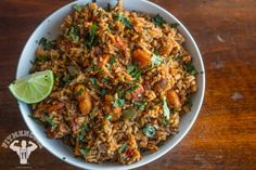 Rice Cooker Spanish Rice with Chicken & Shrimp | Fit Men Cook (I think you can crock pot this also)