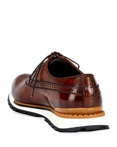 Fast Track Leather Brogue Sneaker, Brown/Yellow