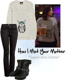"Robin Scherbatsky in How I Met Your Mothet -""Owl Sweater"" by meags-lane on Polyvore"