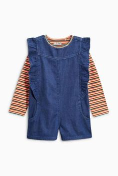 Buy Denim Ruffle Playsuit, Jersey Top And Tights Set (3mths-6yrs) from Next Portugal