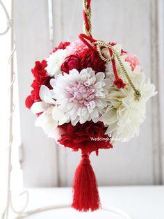 紅白ダリアとこぶしの花の和装用ボールブーケ | ウェディングブーケ.jp