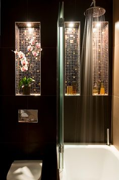 Asian bath with lighted recessed shelves.  love the sparkly recessed tile shelves in shower, hold all toilteries,candles, etc.