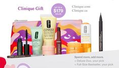 Get up to 10 pieces direct from Clinique. Receive a free 7-pc gift with any $45 order. Plus, get more when you spend $65 or $85. Clinique Gift, Dillards, Cosmetic Bag, Free Gifts, Promotional Giveaways