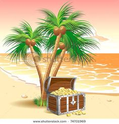 Clip Art Image: Pirate's Treasure Chest on a Tropical Beach with Palm Trees