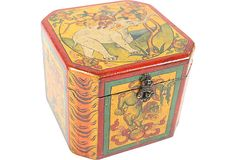 Vintage Tibetan leather-wrapped storage box; curated by NOA Living