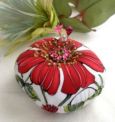 Pincushion Bold Flowers with a Rhinestone Button by fiberluscious