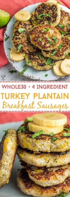 Paleo, Whole30, gluten free turkey plantain breakfast sausages made with just 4 simple ingredients
