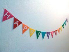 Happy Birthday Rainbow Pennant Bunting Banner Flag by heartFeltbyA, $13.00
