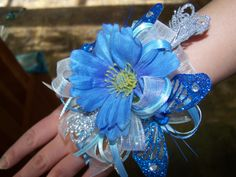 Blue & silver #Prom wristlet with sparkle butterflies!