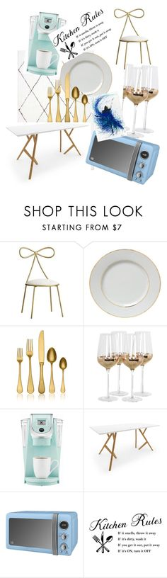 """""""the rassy dinning and kitchen"""" by cellyraethetransboi on Polyvore featuring interior, interiors, interior design, home, home decor, interior decorating, PBteen, Mepra, Posh Totty Designs and Keurig"""