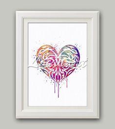 Tribal Heart Print 2 Watercolor Print Love Heart Art Heart Decor Wedding Gift Nursery Art Valentines Gift #heartart #tribal #loveart #weddinggift #wallart #artprint