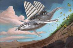 Surrealism and Visionary art: Roland Tamayo Age Of Aquarius, Nautical Art, Humpback Whale, Visionary Art, Box Art, Surrealism, Illustration Art, Illustrations, Shark