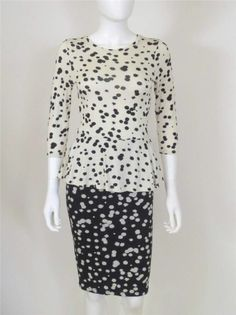 ISABEL DE PEDRO BLACK & IVORY SPOTTED JERSEY PEPLUM DRESS SZ.38/4=NEW WITH TAG