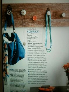 DIY coat rack, Real Living Magazine  (I like this idea for a wall jewelry mount)
