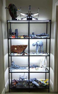 shelf for Lego Star Wars collection! I built an LED-enhanced shelf for my Lego Star Wars collection!I built an LED-enhanced shelf for my Lego Star Wars collection! Vitrine Pour Collection, Vitrine Lego, Display Shelves, Shelving, Storage Shelves, Lego Shelves, Glass Shelves, Display Ideas, Nave Lego