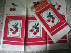 Hey, I found this really awesome Etsy listing at http://www.etsy.com/listing/150716635/vintage-red-cherries-kitchen-tea-towels