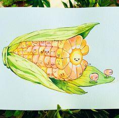 Sketch Painting, Watercolor Sketch, Kawaii Drawings, Cute Drawings, Art Journal Inspiration, Art Inspo, Earth Drawings, Kawaii Doodles, Marker Art
