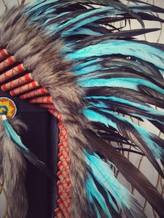 Y33 Medium Turquoise Feather Headdress 36 by THEWORLDOFFEATHERS