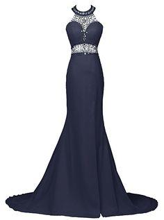 Dresstells® Long Mermaid Prom Dress Beadings Halter Evening Gowns with Slit