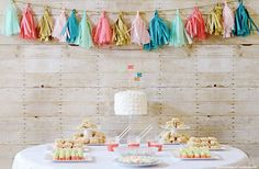 Gender Reveal Party! I love the pastel colors here!