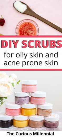 Looking for some diy exfoliating face scrub recipes for oily skin? In this post, you will learn about making diy facial scrubs at home using homemade ingredients like salt, sugar, honey, etc. These diy face scrubs are completely natural and are just great for treating acne, getting rid of oily skin and to get amazing glowing skin at the comfort of your home. They also contain essential oils and make for some great gift ideas. Do try these diy body and face #OilySkinMoisturizer Diy Exfoliating Face Scrub, Diy Face Scrub, Sugar Scrub Diy, Diy Scrub, Sugar Scrubs, Face Scrub At Home, Exfoliating Products, Salt Face Scrub, Homemade Skin Care