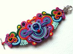 Soutache Bracelet Multicolor Swarovski Glamour! *_*