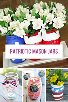 We love mason jars and if you do too you are going to be super excited about our collection of Patriotic Mason Jar Crafts!
