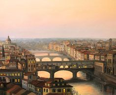 Sunset Over Ponte Vecchio In Florence Canvas Print / Canvas Art by Kiril…