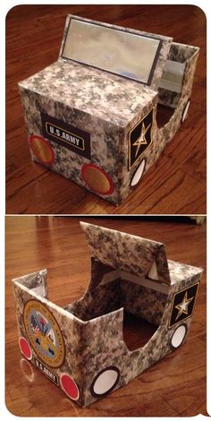 Army Jeep made from cardboard copy paper box for military appreciation lesson in children's church.