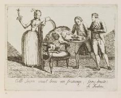 Cartoon of Louis XVI as a gluttonous pig tied to Marie-Antoinette, 1791, French school (Waddesdon)
