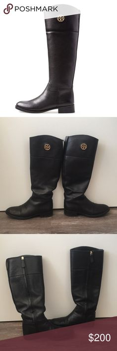 Tory Burch Junction Riding Boot Great used condition. Purchased from Tory Burch website for $339 + tax. Some marks on leather from normal wear. Heels could use new taps. Women's size 7. Tory Burch Shoes