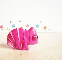 Seriously, this shop is absolutely adorable.  Just looovve this Fucsia Chameleon Figurine Polymer Clay Animal by FlowerLandShop, $36.00