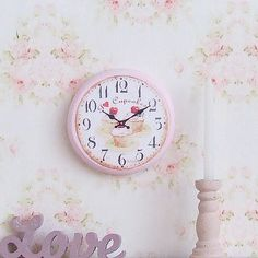 Dollhouse Miniature | Wood Pink Cherry Cupcake Clock | Shabby Chic | 12th Scale