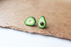 Miniature Avocado Earrings - stud earrings - silver 925 findings - clay studs - green studs - polymer clay - green earrings, avocado jewelry by DzyDzydesign on Etsy https://www.etsy.com/listing/233147194/miniature-avocado-earrings-stud-earrings