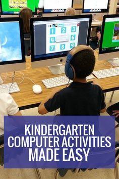Kindergarten Computer Activities Made Easy - Classroom + Technology - Kindergarten Computer Activities – easy to use - Elementary Computer Lab, Computer Lab Lessons, Computer Lab Classroom, Kids Computer, Computer Teacher, Computer Class, Technology Lessons, Der Computer, Teaching Technology