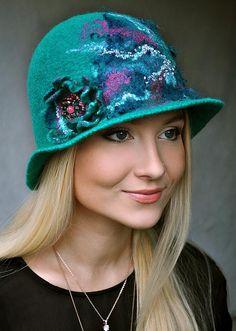 OOAK Handmade Felted Hat Cloche Felt Hat Handmade Felted Hat Cap Merino Wool emerald Turquoise pink Cloche Fashion Hat Free Shipping
