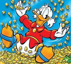 Scrooge McDuck bathing in wealth. Walt Disney Pixar, Disney Now, Disney Duck, Disney Mickey, Donald Duck Comic, Donald And Daisy Duck, Looney Tunes Cartoons, Disney Cartoons, Caricatures