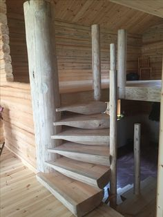 Handcrafted staircase to the Loft