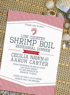 Nautical Shrimp Boil Rehearsal Dinner or Party by howlcreativeco Rehearsal Dinner Invitations, Engagement Party Invitations, Diy Invitations, Rehearsal Dinners, Invites, Shrimp Boil Party, Seafood Boil, Low Country Boil, Summer Party Decorations