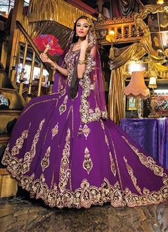 Purple Gold Lengha Bridal DressesBridal OutfitsIndian Wedding