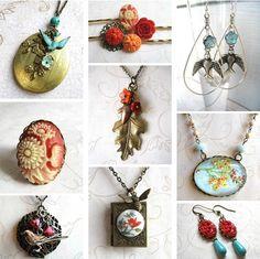 Jewelry collage - checkout Botanical Bird online www.botanicalbird.etsy.com