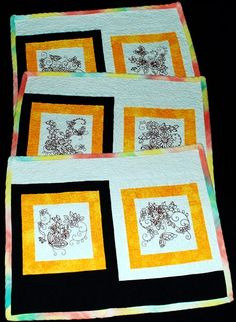 Advanced Embroidery Designs. Free Projects and Ideas. Quilted Place Mats with redwork machine embroidery