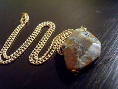 Classic Stone Pendant Necklace - Semi-Precious Stone Pendant Necklace - Woodland Natural Stone Necklace - Asymmetrical Cut Stone Necklace