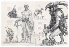 ArtStation - Page of my second sketch Book published by : Au bord des Continents, Jean-Baptiste Monge Character Concept, Character Art, Concept Art, Character Design, Character Creation, Fantasy Authors, Fantasy Characters, Sketchbook Inspiration, Art Sketchbook