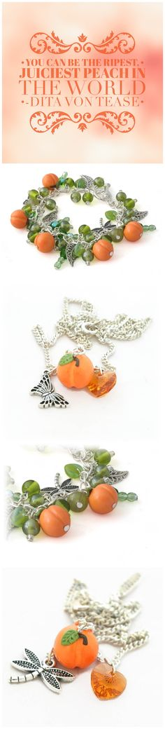 You can be the ripest peach in the world... Peach Charm jewelry handmade by Lottie Of London