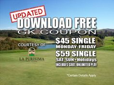 GK Coupon – La Purisima Golf Course Tee Time Special with GK Coupon